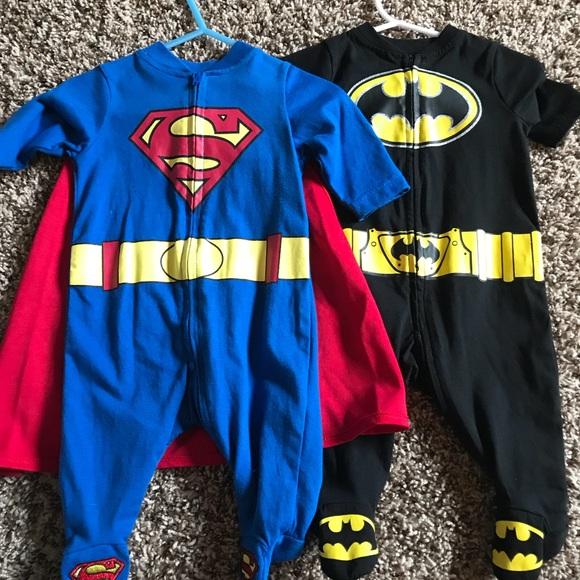 fc86c337d8 DC Comics Other - 2 Superhero Infant Pajamas Superman w Cape Batman
